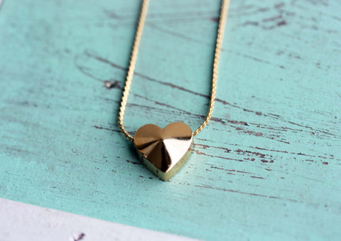 Gold Block Heart Necklace