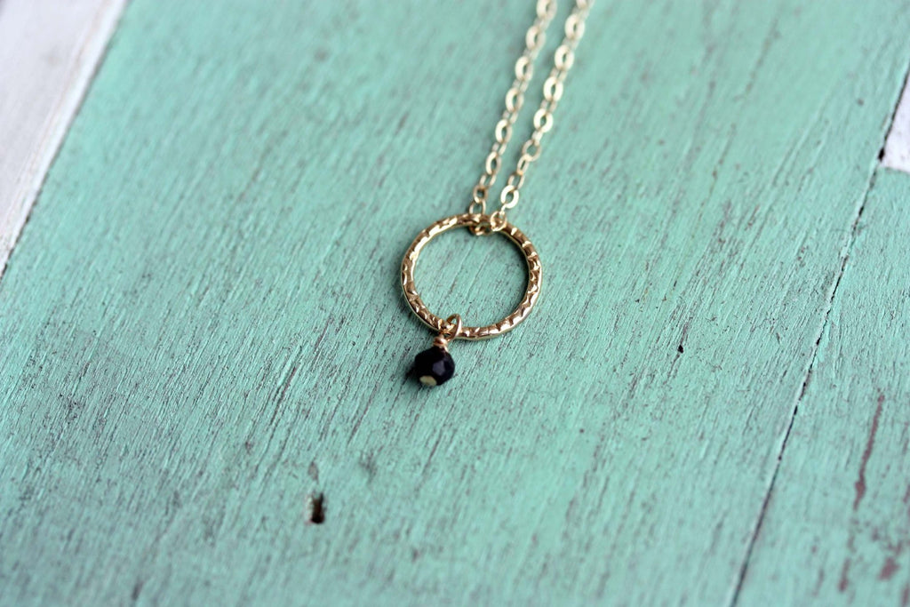 Gold Circle and Tiny Stone Necklace