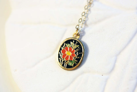Oval Flower Charm Necklace