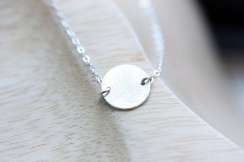 Sterling Silver Circle Disc Necklace