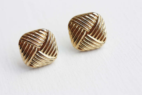 Gold Criss Cross Square Studs
