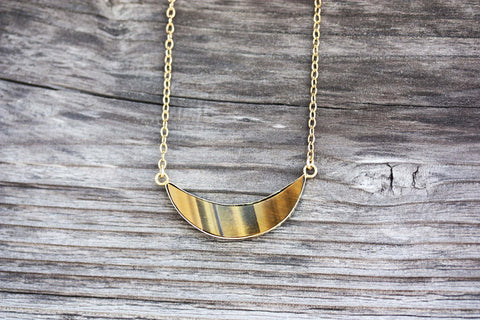 Vintage Gold Moon Necklace