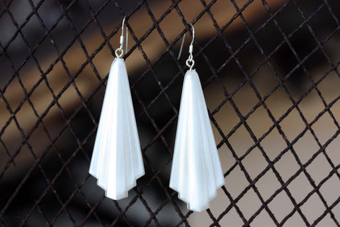 Vintage White Deco Earrings