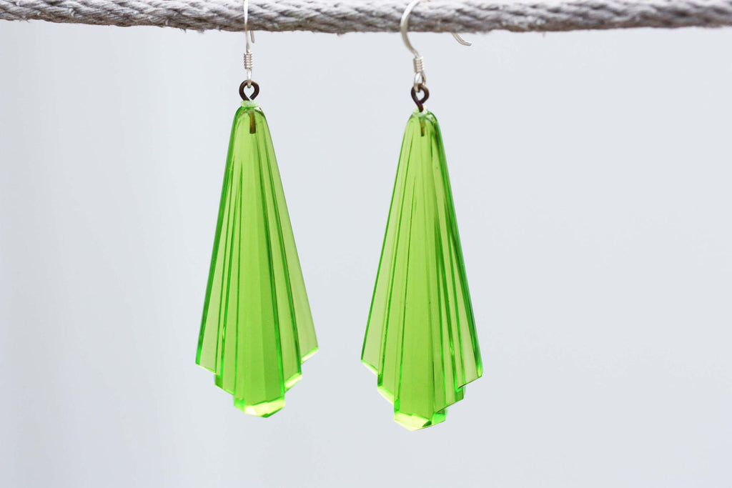 Lime Green Vintage Deco Earrings