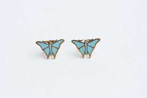 Tiny Blue Butterfly Studs