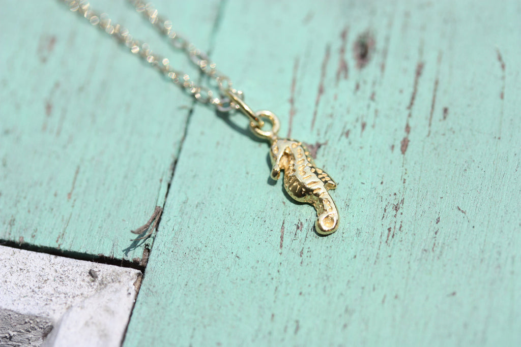 Tiny Gold Seahorse Necklace