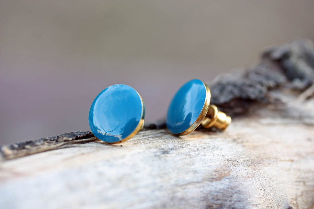 Blue Enamel Circle Studs from Diament Jewelry, a gift shop in Washington, DC.