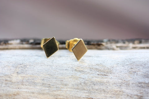 Tiny Gold Diamond Shaped Studs