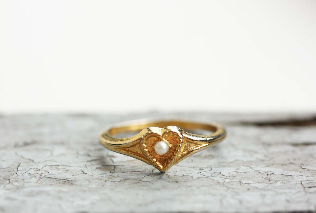 Delicate Heart and Pearl Ring