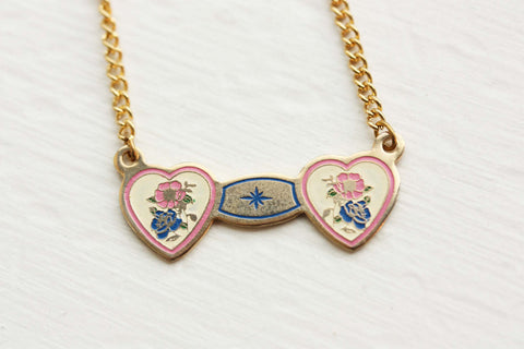 Double Heart Necklace - Yellow and Pink