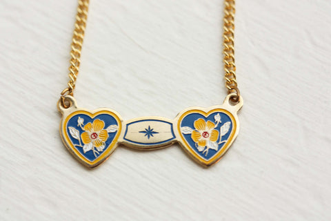 Double Heart Necklace - Blue