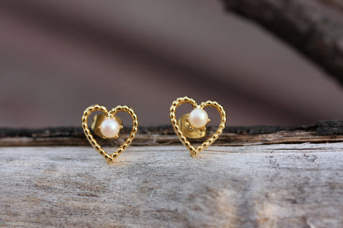 Gold Heart and Pearl Studs