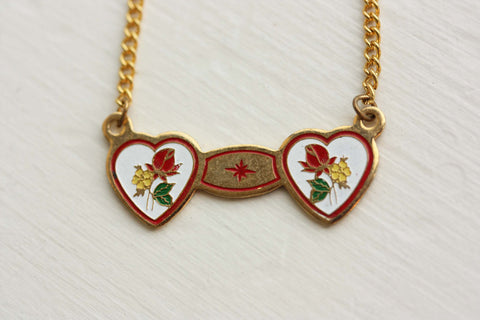 Double Heart Necklace - White and Red