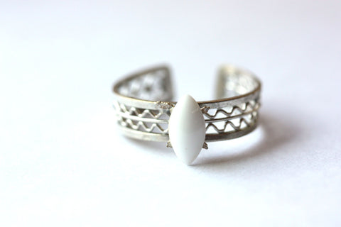 Silver and White Woven Ring