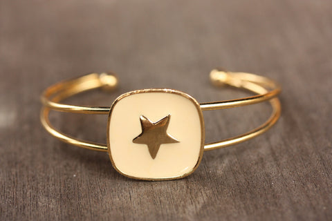 White and Gold Star Cuff