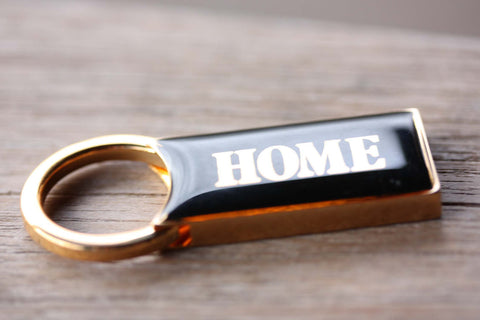 Gold and Black HOME Keychain
