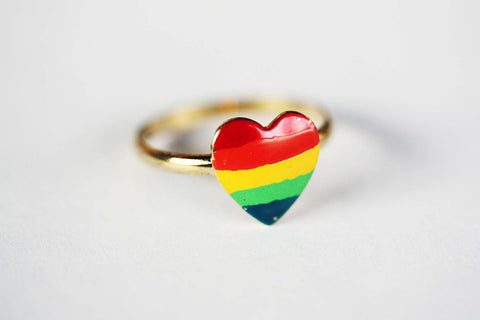 Rainbow Painted Heart Ring