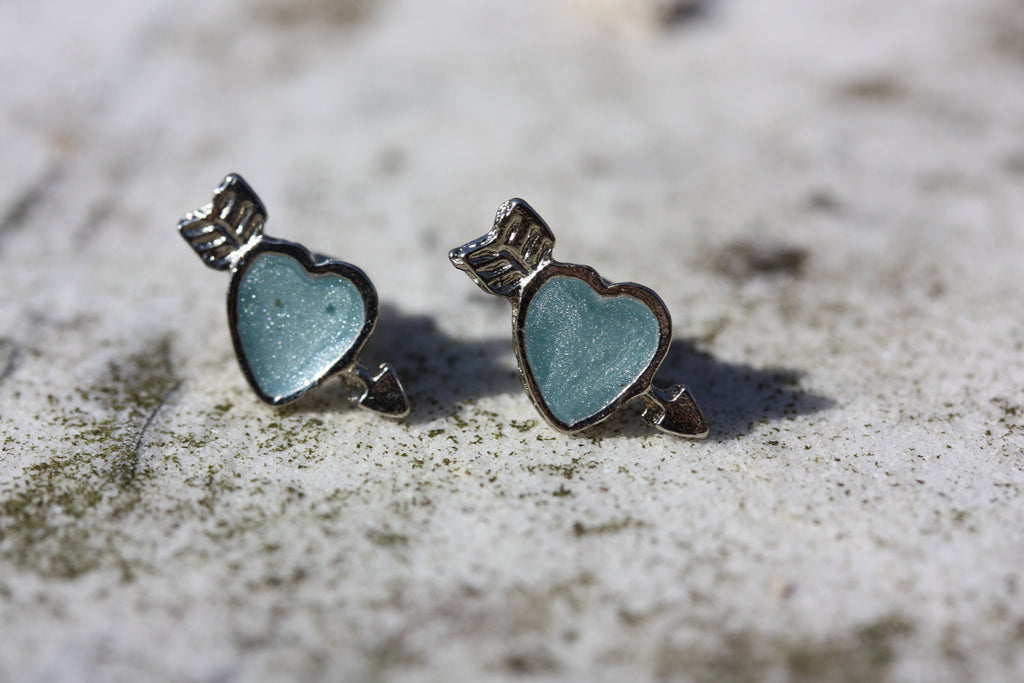 Blue and Silver Heart Arrow Studs