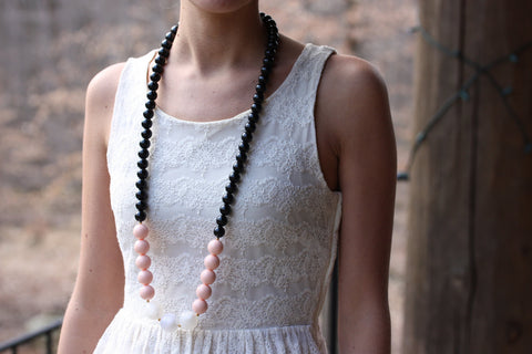 Black Pink and White Beaded Necklace