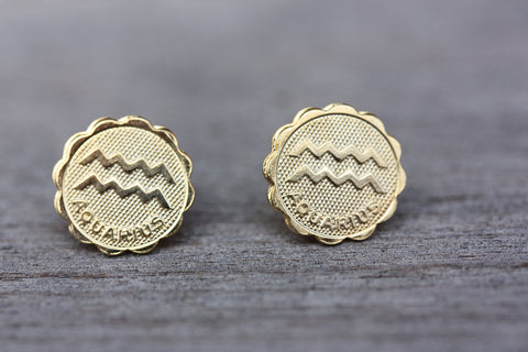 Gold Astrology Studs - Aquarious