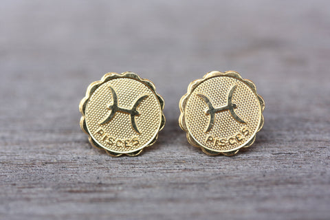 Gold Astrology Studs - Pisces
