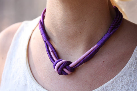 Rope Knot Necklace - Purple