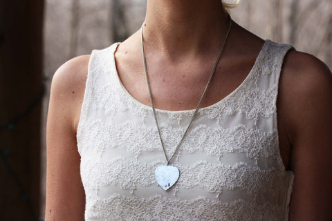 Oxidized Silver Heart Necklace