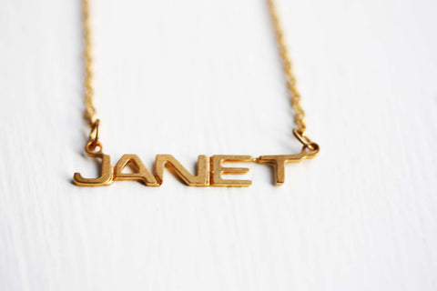 Vintage Name Necklace - Janet