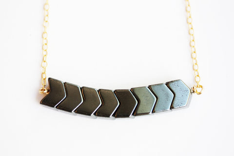 Chevron Hematite Necklace