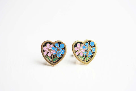 Blue and Pink Heart Studs