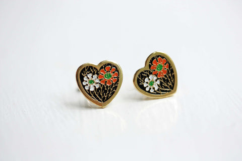 Orange and White Heart Studs