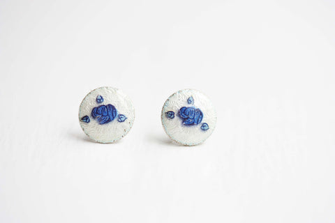 Blue and White Flower Dot Stud