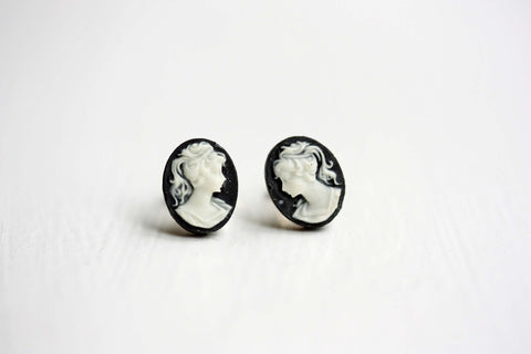 Small Black Cameo Studs