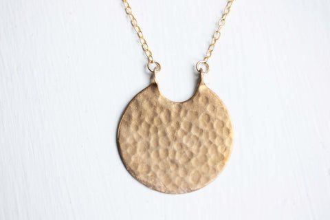 Hammered Brass Circle Necklace