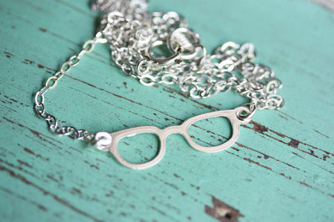Tiny Silver Glasses Necklace