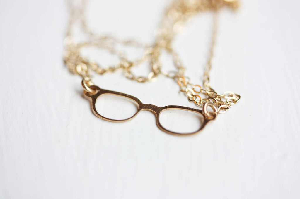 Tiny Gold Glasses Necklace