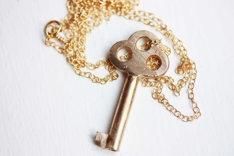 Brushed Gold Key Necklace