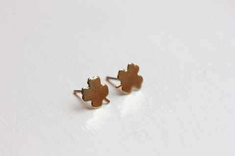 Small Gold Clover Studs