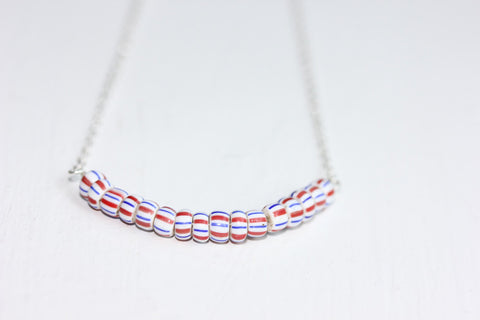 Blue and Red Stripes Necklace