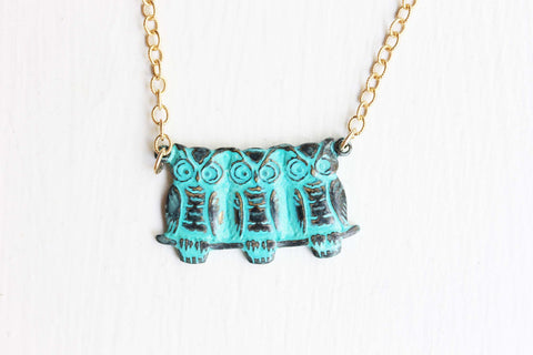 3 Owls Necklace - Gold