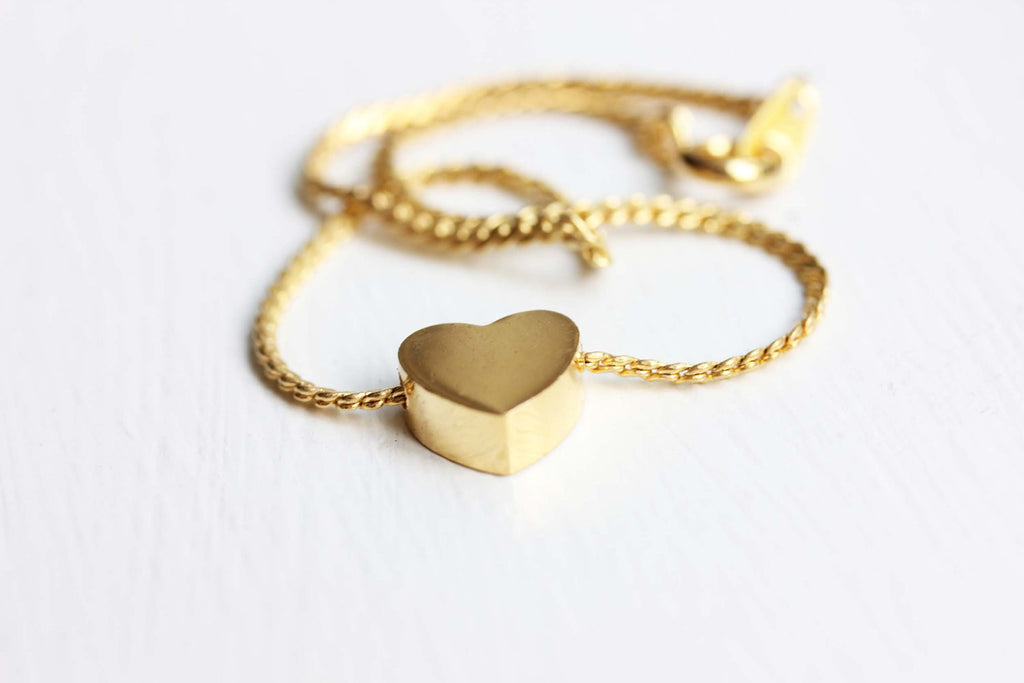 Gold Heart Chain Bracelet from Diament Jewelry, a gift shop in Washington, DC.