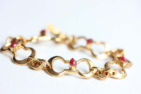 Gold Oval Link Ruby Bracelet