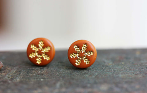 Tiny Orange and Gold Flower Studs