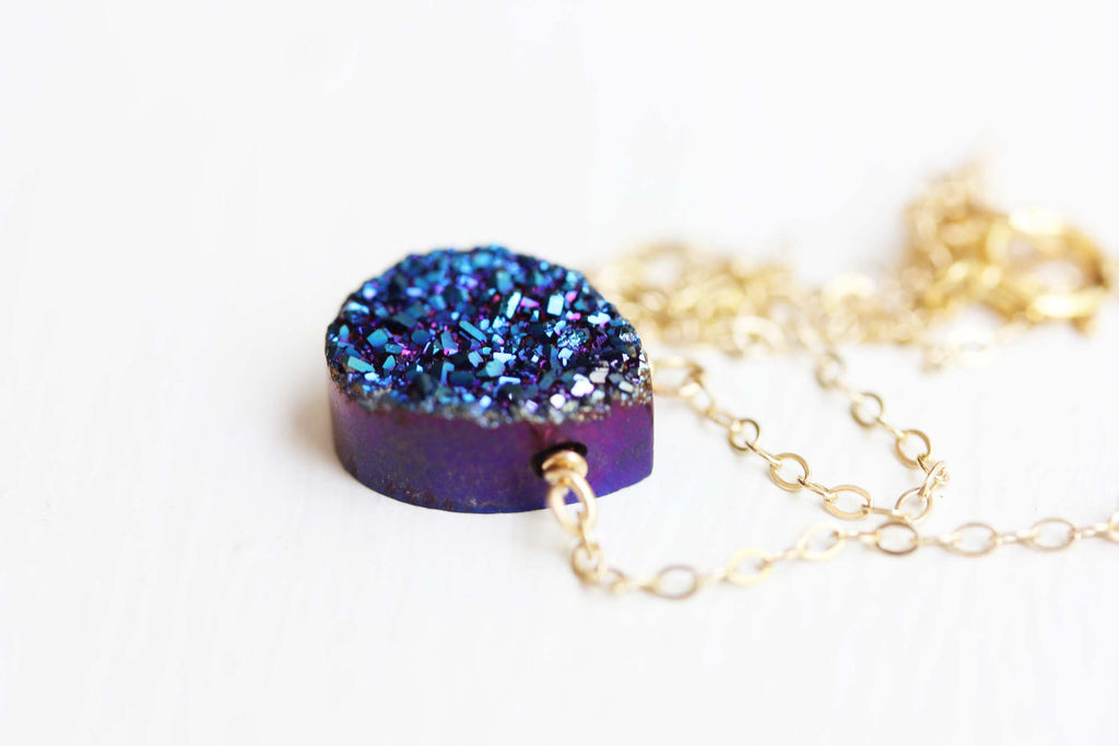 Blue Drusy Quartz Necklace from Diament Jewelry, a gift shop in Washington, DC.