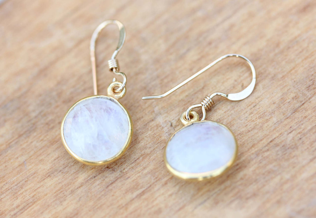 Gold Moonstone Gem Earrings from Diament Jewelry, a gift shop in Washington, DC.