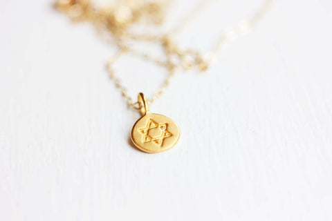 Tiny Star of David Charm Necklace
