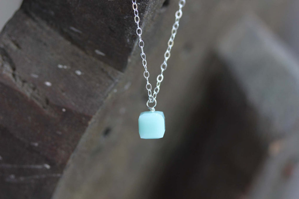 Tiny Silver Turquoise Cube Necklace