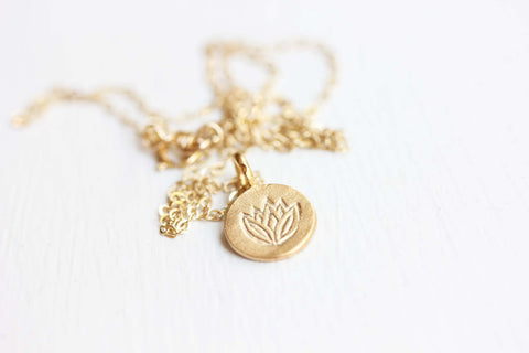 Tiny Lotus Charm Necklace