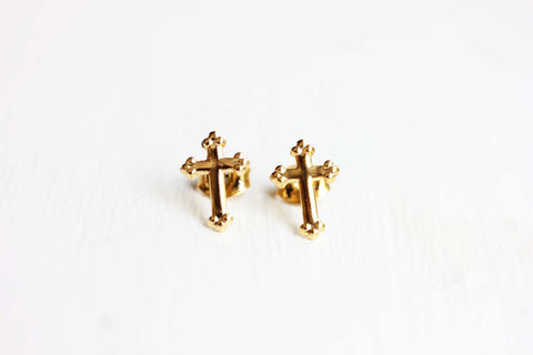 Tiny Gold Cross Studs