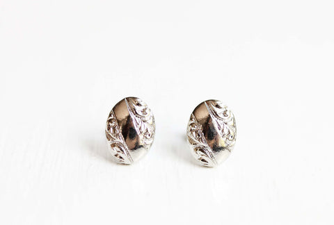 Fancy Silver Oval Studs